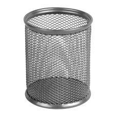 Подставка для ручек круглая 80х80х100мм металл серебро