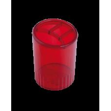 Стакан для ручек 4 отделения пластик багряный