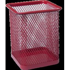 Подставка для ручек квадратная 80х80х95мм металл червоний
