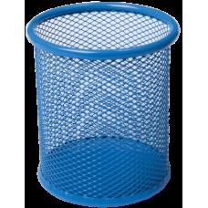 Подставка для ручек круглая 80х80х97мм металл синий