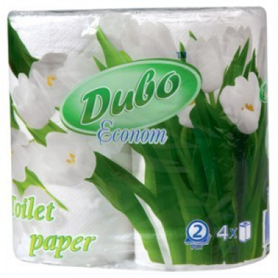 Бумага туалетная Диво Econom 4 рулона, на гильзе 2-х слойная белый (тп.де.4б)