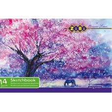 Альбом для рисования А4 красками бумага с фактурной поверхностью 120 г/м2 14 листов на скобе