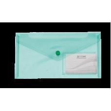 Папка-конверт на кнопке DL (240x130мм) TRAVEL зеленый