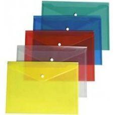 Папка-конверт А5 прозрачная на кнопке фактура глянец ассорти