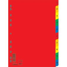 Индекс-разделитель цифровой А4 10 позиций цветной