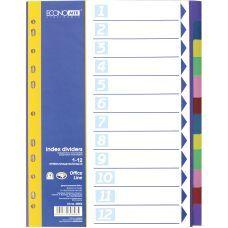 Индекс-разделитель А4 Economix пластик 12 позиций цветной