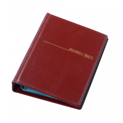 Визитница на 120 визиток на кольцах винил бордовый (0304-0007-10)