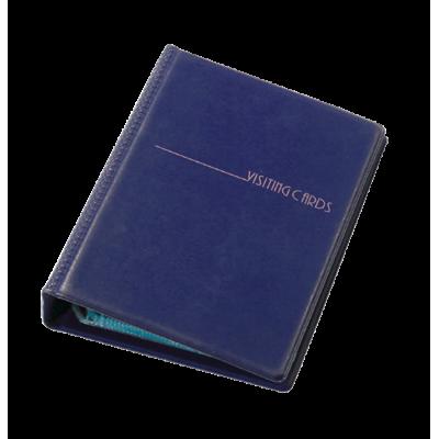 Визитница на 200 визиток на кольцах винил темно-синий (0304-0008-02)
