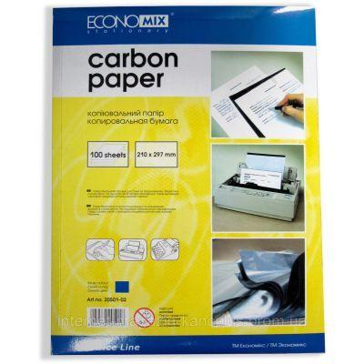 Бумага копировальная синяя, А4, 100 листов, Economix (E20501-02)