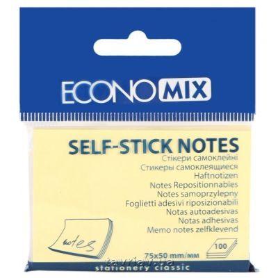 Блок бумаги с клейким слоем 50х75мм Economix 100 лист желтый (E20931)