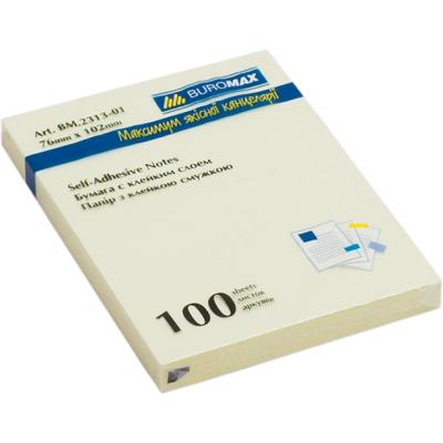 Блок бумаги с клейким слоем 75x100мм 100л. желтый (BM.2313-01)