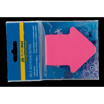 Блок бумаги с клейким слоем Стрелка 50л ассорти неон (BM.2366-99)