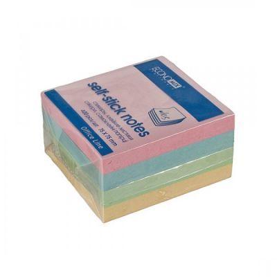 Блок бумаги с клейким слоем 75х75мм Economix 400 лист пастель микс (E20937)
