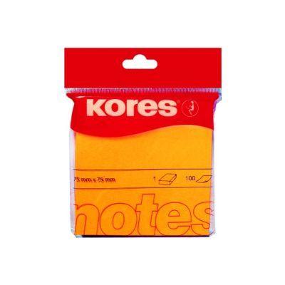 Блок бумаги с клейким слоем 75х75мм Kores 100 лист неон оранжевый (K47074)