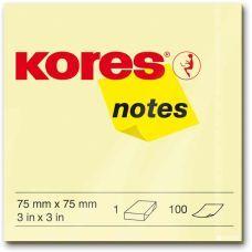Блок бумаги с клейким слоем 75х75мм Kores 100 лист желтый