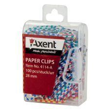 Скрепки цветные полосатые 28мм 100шт пласт. контейнер